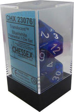 Load image into Gallery viewer, Chessex: Translucent Blue w/ White - Polyhedral Dice Set (7) - CHX23076