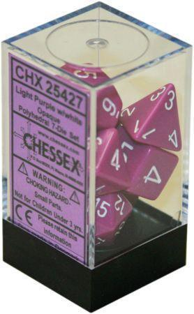 Chessex: Opaque Light Purple w/ White - Polyhedral Dice Set (7) - CHX25427