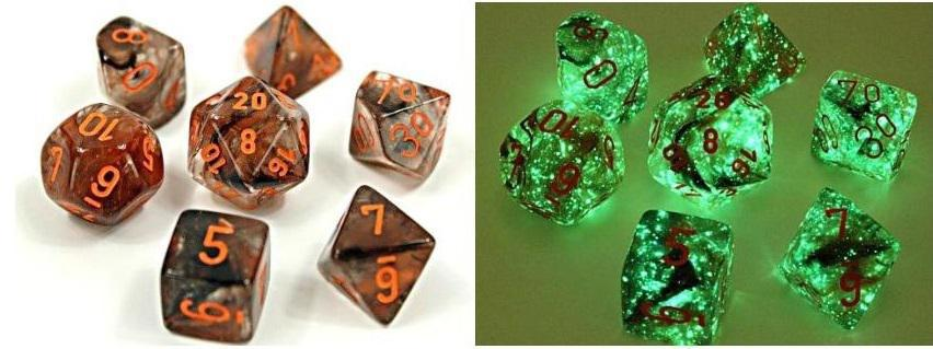 Chessex: Nebula Copper Matrix Orange - Polyhedral Dice Set (7) - CHX30040U