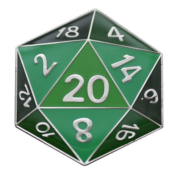 Foam Brain Games: D20 Metal Pin - Green