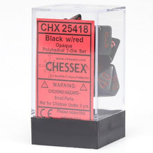 Load image into Gallery viewer, Chessex: Opaque Black w/ Red - Polyhedral Dice Set (7) - CHX25418