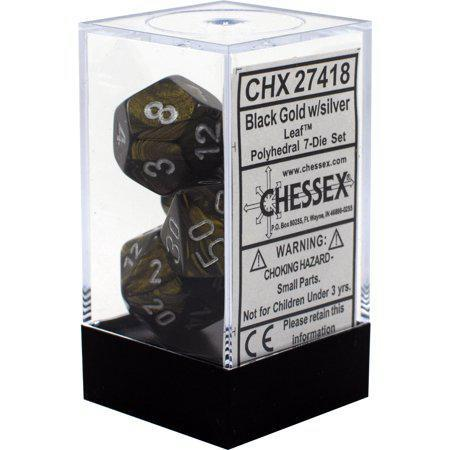 Chessex: Leaf Black and Gold w/ Silver - Polyhedral Dice Set (7) - CHX27418
