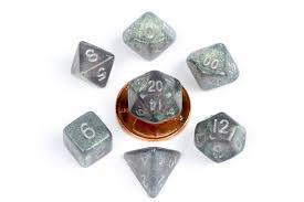 Metallic Dice Games: Stardust Gray with Silver Numbers 10mm - Mini Polyhedral Dice Set (7)