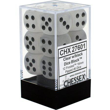Chessex: Frosted Clear w/ Black - 16mm d6 Dice Set (6) - CHX27601