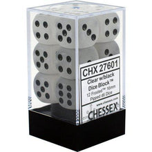 Load image into Gallery viewer, Chessex: Frosted Clear w/ Black - 16mm d6 Dice Set (6) - CHX27601