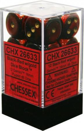 Chessex: Gemini Black and Red w/ Gold - 16mm d6 Dice Set (12) - CHX26633
