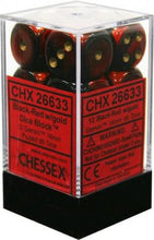 Load image into Gallery viewer, Chessex: Gemini Black and Red w/ Gold - 16mm d6 Dice Set (12) - CHX26633