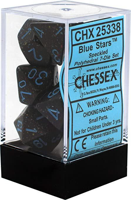 Chessex: Speckled Blue Stars Dark Blue w/ Blue - Polyhedral Dice Set (7) - CHX25338