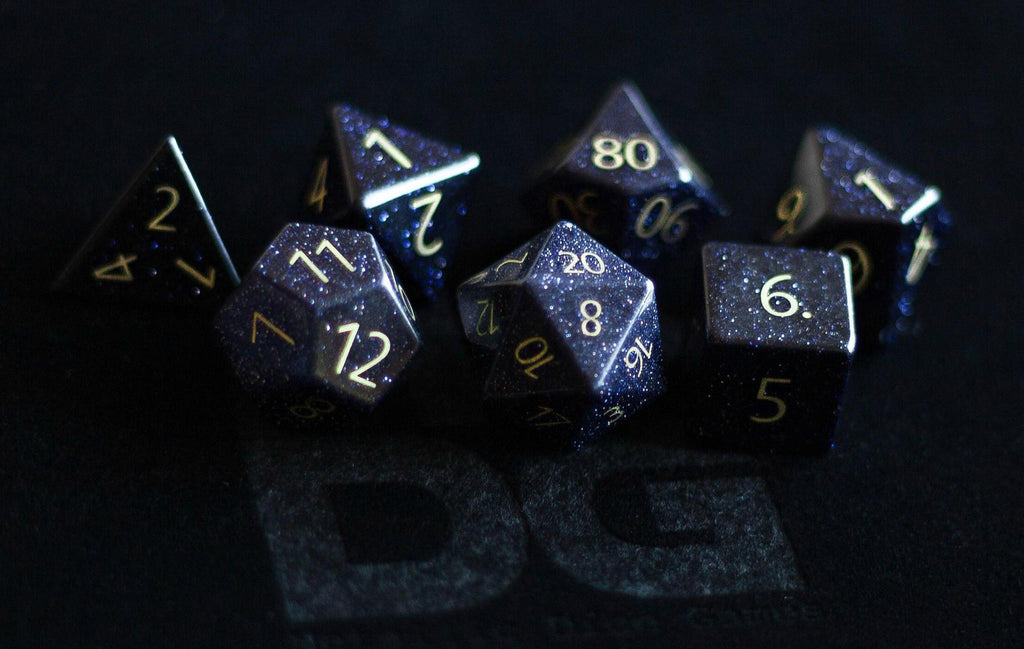 Metallic Dice Games: Engraved Blue Sandstone Gemstone - Polyhedral Dice Set (7)
