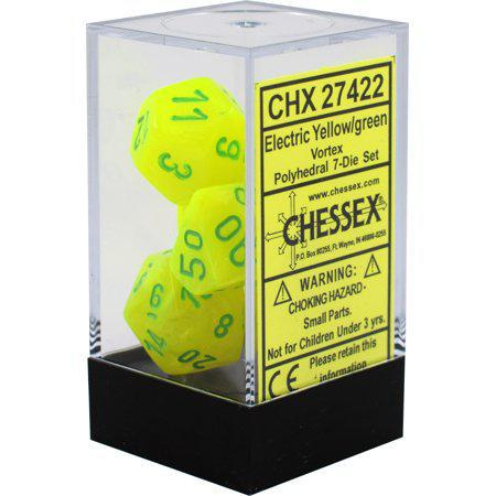 Chessex: Vortex Electric Yellow and Green w/ Green - Polyhedral Dice Set (7) - CHX27422