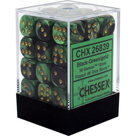 Chessex: Gemini Black Green w/ Gold - 12mm d6 Dice Set (36) - CHX26839
