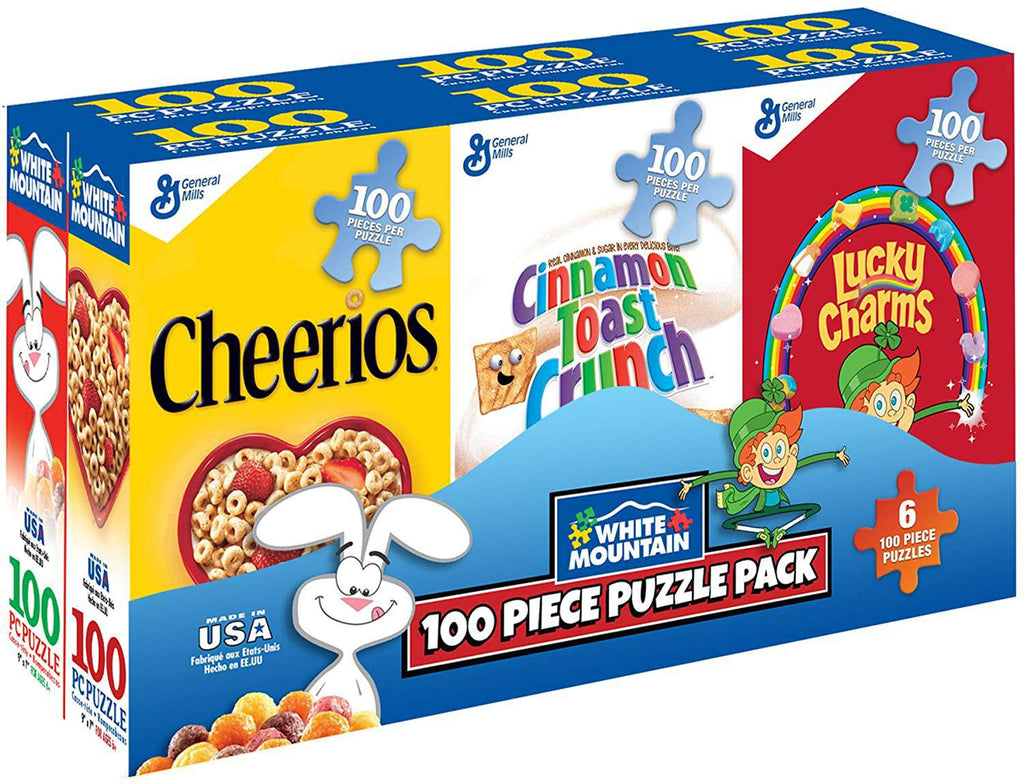 White Mountain Puzzles: Mini Cereal Boxes - Six 100 Piece Puzzle Pack