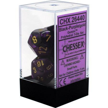 Chessex: Gemini Black and Purple w/ Gold - Polyhedral Dice Set (7) - CHX26440