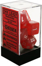 Load image into Gallery viewer, Chessex: Frosted Red w/ White Polyhedral Dice Set (7) - CHXLE427
