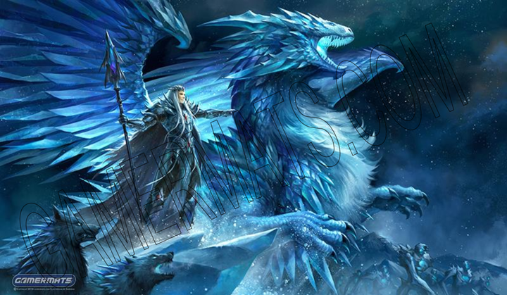 "GamerMats: 'Frost Dragon' 14""x24""&1/8"" Stitched Gaming Playmat"