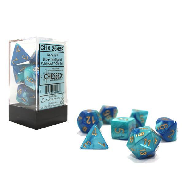 Chessex: Gemini Blue and Teal w/ Gold - Polyhedral Dice Set (7) - CHX26459
