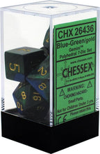 Load image into Gallery viewer, Chessex: Gemini Blue and Green w/ Gold - Polyhedral Dice Set (7) - CHX26436
