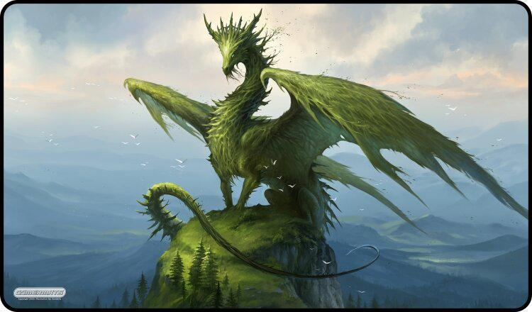 "GamerMats: 'Dragon of the Forest' 14""x24""&1/8"" Stitched Gaming Playmat"