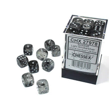 Load image into Gallery viewer, Chessex: Borealis Luminary Light Smoke w/ Silver - 12mm d6 Dice Set (36) - CHX27978
