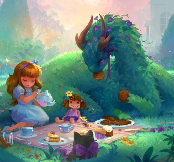 GamerMats: Dragon Art Coaster - 'Dragon Tea Party'