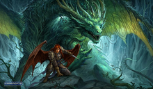 "Load image into Gallery viewer, GamerMats: 'Denizen of the Forest' 14""x24""&1/8"" Stitched Gaming Playmat"