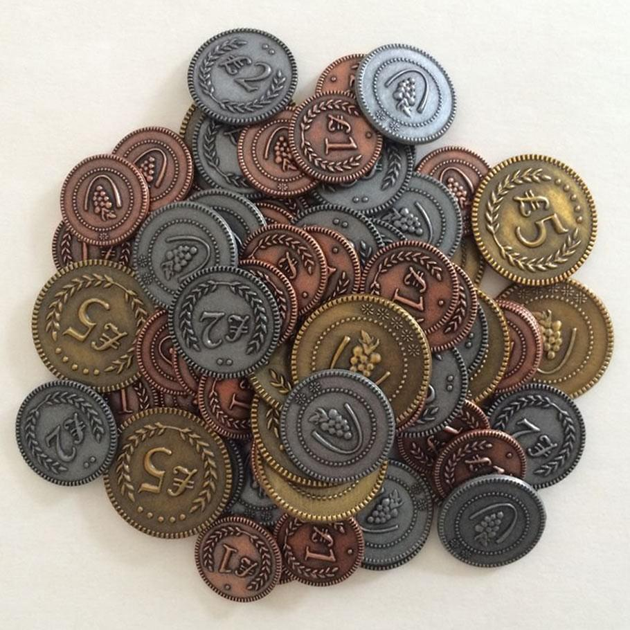 Viticulture: Metal Lira Coins