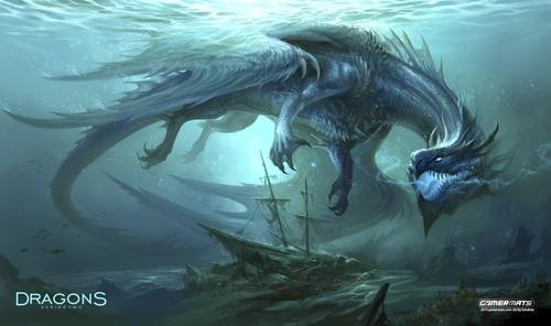 "GamerMats: 'Dragon from the Depths' 14""x24""&1/8"" Stitched Gaming Playmat"