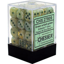 Load image into Gallery viewer, Chessex: Marble Green w/ Dark Green - 12mm d6 Dice Set (36) - CHX27809