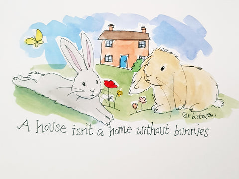 Bunny Home Handpainted Watercolour with Custom Bunnies