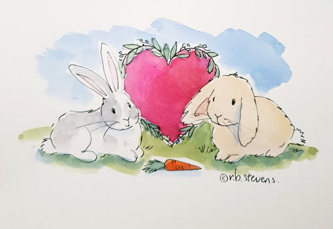 Greeting Card Bunny Love Handpainted Watercolour with Custom Bunnies