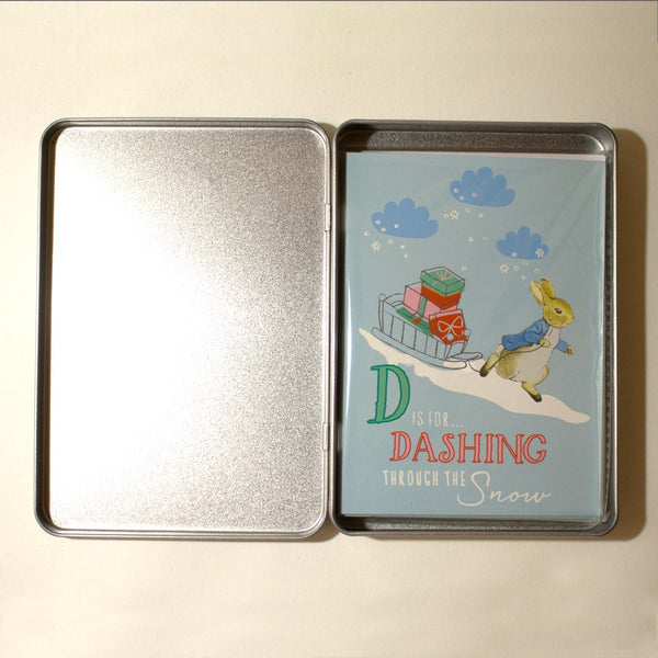 Peter Rabbit Christmas Notecards in Tin