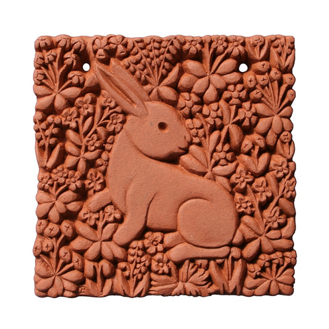Millefleurs Rabbit Terracotta Tile