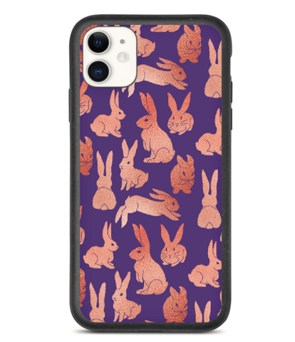 Pink and Purple Rabbits - Biodegradable Phone Cases - By Tina Schofield