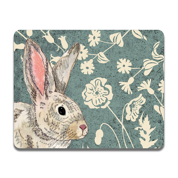 Placemat with a picture of a wildwood rabbit and flowers on it