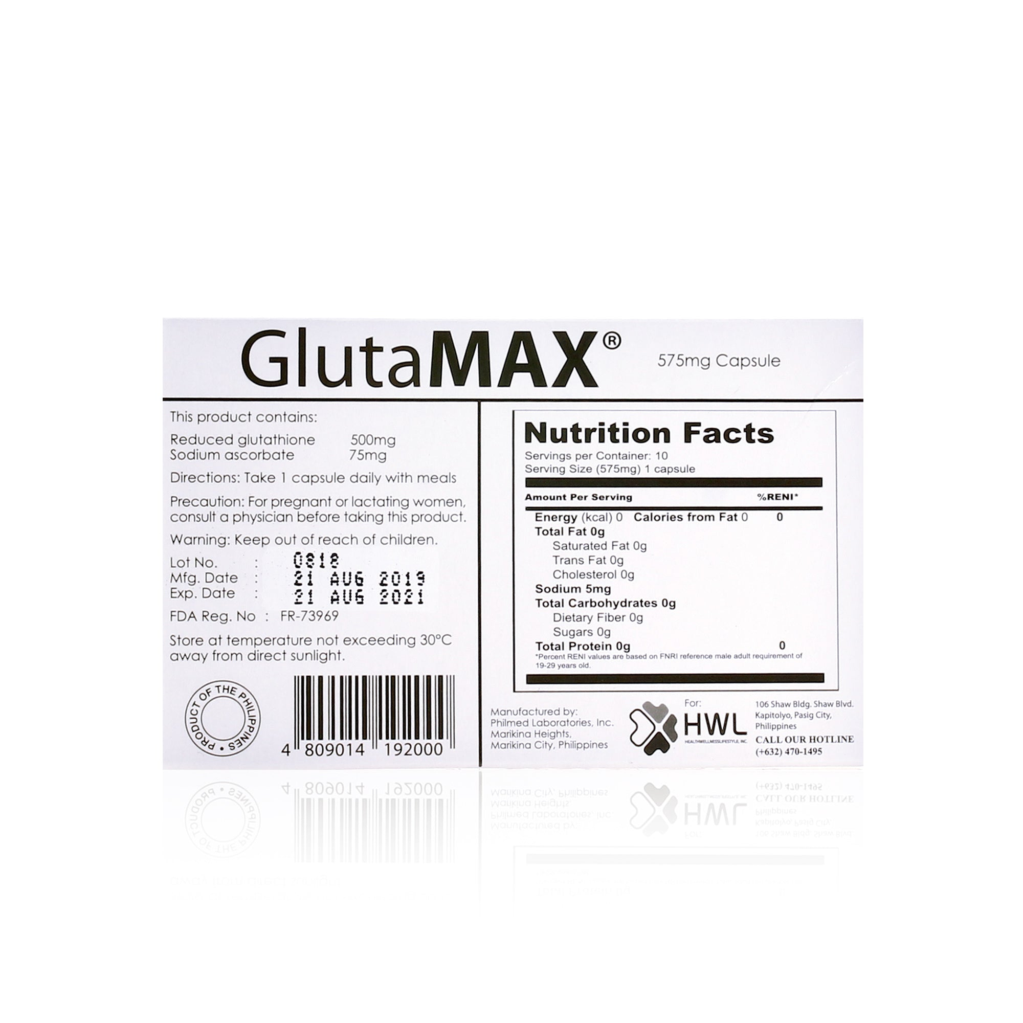 GlutaMAX 10 Capsules with 500mg Glutathione & 75mg Vitamin C