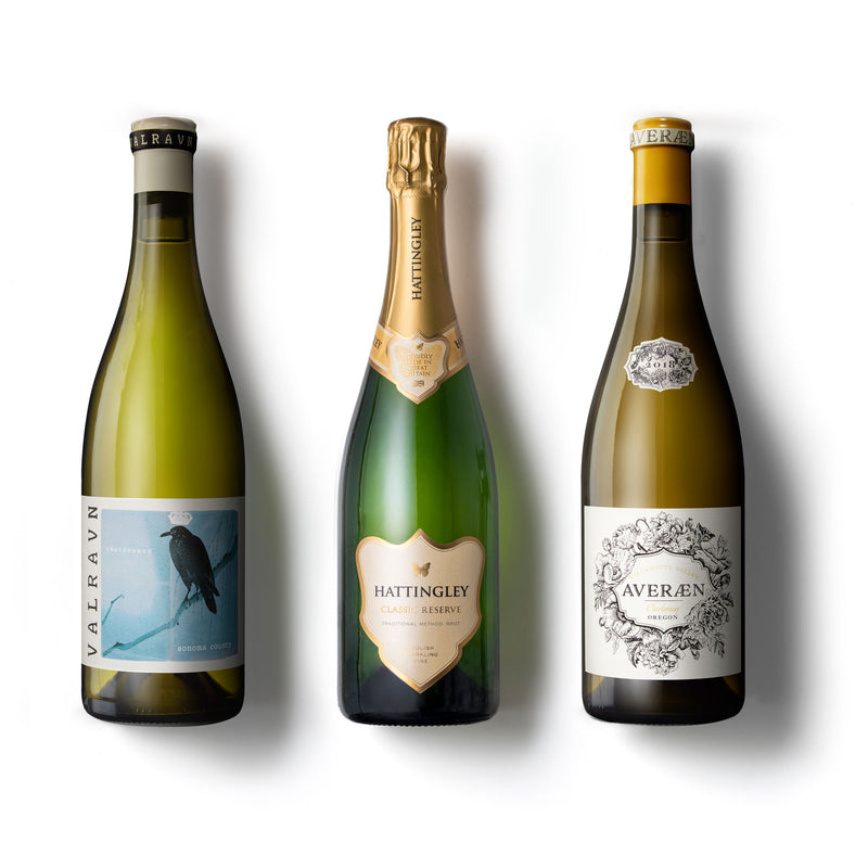 Hattingley Valley both side of the pond mixed case with valravn and Averaen pinot and Chardonnay 3 wines