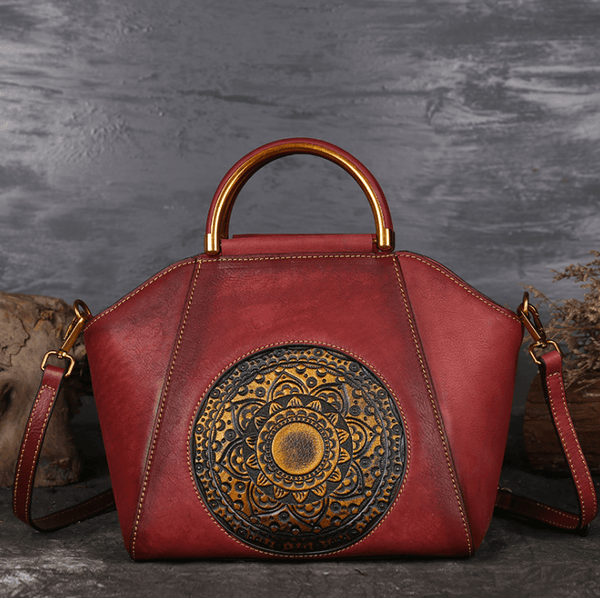 Genuine Embossed Leather Retro Handbag With Totem Pattern-Bags & Clutches-radekus
