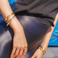 Open Ended Gold Silver Plated Cuffs-Cuffs, Bracelets & Rings-radekus
