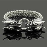Double Dragon Stainless Steel Bracelet-Bracelets, Cufflinks & Rings-radekus
