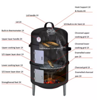 Portable BBQ Smoker Steamer Charcoal Wood Burning Grill