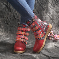 Women Snow Boots Ankle Length With Flower Prints Buckle Straps-Shoes-radekus