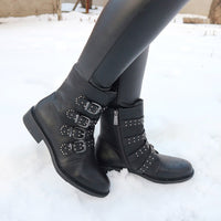 Buckle Punk Ankle Winter Motorcycle Snow Boots For Women