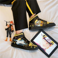 Black Yellow Anime Hip Hop Shoes
