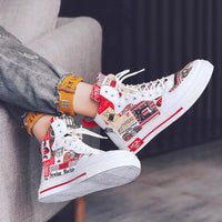 Red and White Printed Casual Sneakers For Men