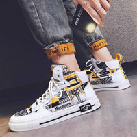 White Casual Printed Sneakers For Men