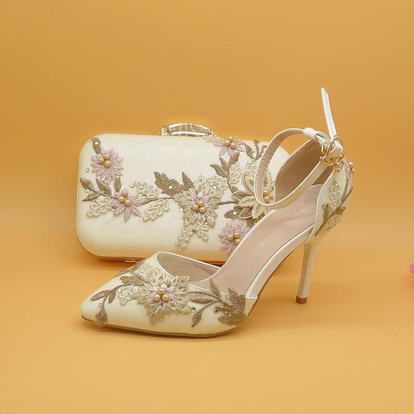 White Lace Flower Wedding Party Shoes With Matching Clutch Bags-Shoes Bags-radekus