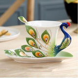 European Peacock Ceramic Coffee Tea Cup Set