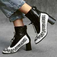 Women Winter Leather Boots Ankle Length with Ethnic Embroidery-Shoes-radekus