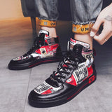 Red & Black Casual Printed Sneakers