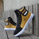 Yellow Lace Up Sneakers For Men